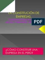 LA CONSTITUCIÓN DE EMPRESAS