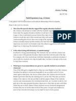field experience log ideas