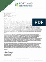 Portland Business Alliance Uber Letter