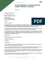 LEY ORGÁNICA DE DONACIÓN Y TRANSPLANTE DE ÓRGANOS, TEJIDOS Y CELULAS