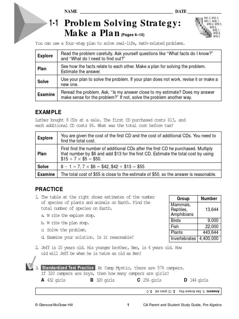 math worksheet : pre algebra glencoe workbok answers on page end : Glencoe Math Worksheets