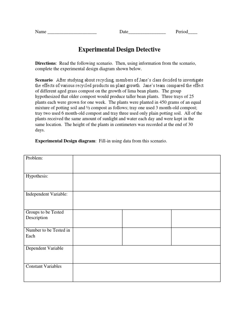 Experimental Design Detective And Variables Practice Worksheets