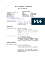 Resume Sample A