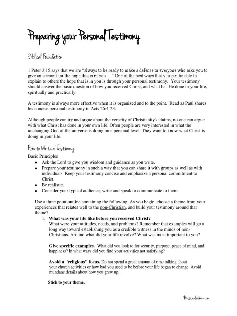 Preparing Your Personal Testimony And Worksheet Testimony Jesus