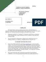 Facebook privacy FTC complaint  Docket No. C-4365