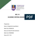 Written Assignment BEL 311