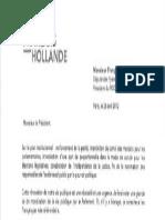 Extrait de la lettre de Hollande à Bayrou
