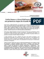 COMUNICADO DE IMPRENSA | CARLOS SOUSA - GRANDE RALI DA CHINA - ETAPAS 1/2