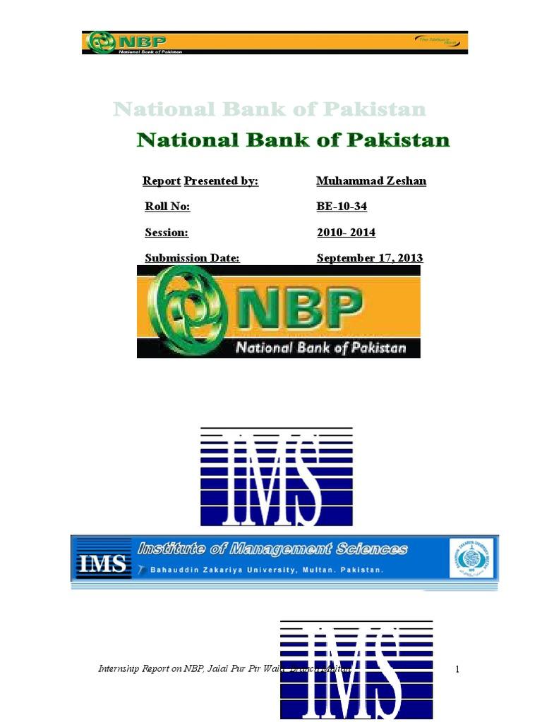 INTERNSHIP REPORT on NBP 2013 doc | Balance Sheet | Banks