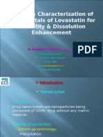 Design and Characterization of Nanocrystals of Lovastatin for Solubility Dissolution Enhancement