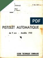PISTOLET AUTOMATIQUE DE 9 MM MODÈLE 1950
