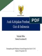 ARAH KEBIJAKAN PEMBANGUNAN GIZI DI INDONESIA