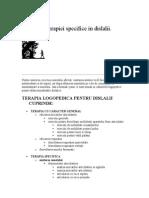 Schema Terapiei Specifice in Dislalii
