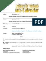 LegislativeCalendar Week Beginning 9.16.13 (Through 9.27.13)