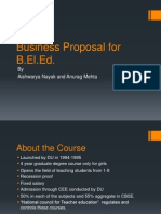 Business Proposal for B. El. Ed.
