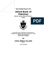 internship report on Allied bank of pakistan