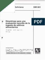 001 Dir Directricez - Ingesta de Aditivos Alimentarios
