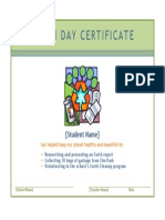 Earth Day Certificate