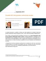 Observatoire SFL-FORUM -  Fiscalité 2013 des grandes collectivités locales