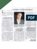"""""""Les idées simples ont été entendues"""" Le Dauphiné Libéré 09/06/2009"""