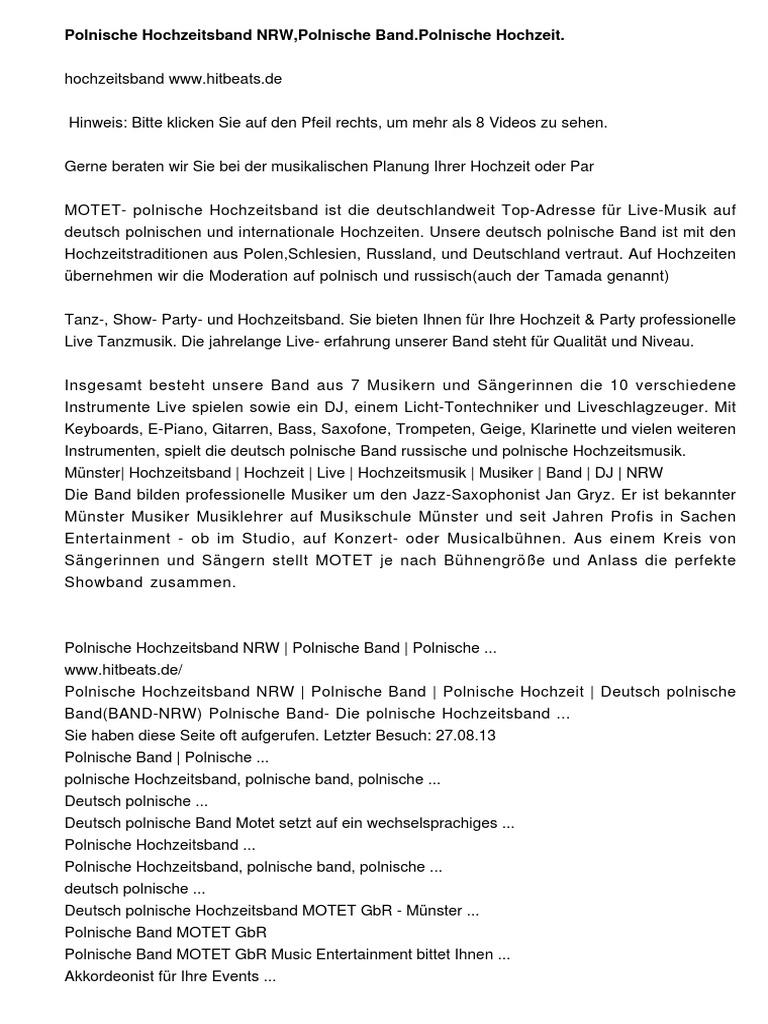 Polnische Hochzeitsband Willkommen In Polschland Polnische