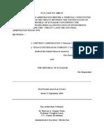 Chevron-Ecuador BIT Tribunal Order