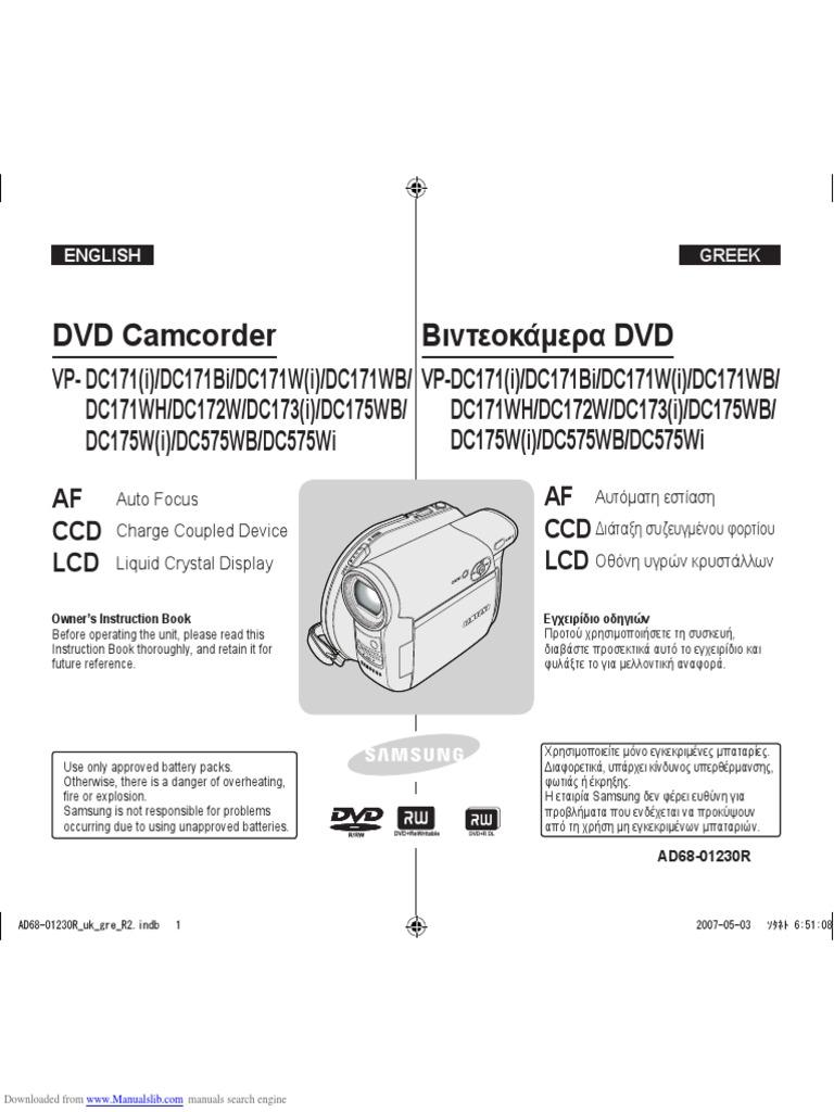 VP-DC171WB Camcorder Battery Charger for Samsung VP-DC171 VP-DC171W VP-DC171i
