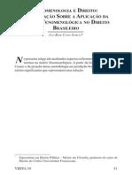 FENOMENOLOGIA E DIREITO Investigação sobre a aplicação da matriz fenomenológica no Direito