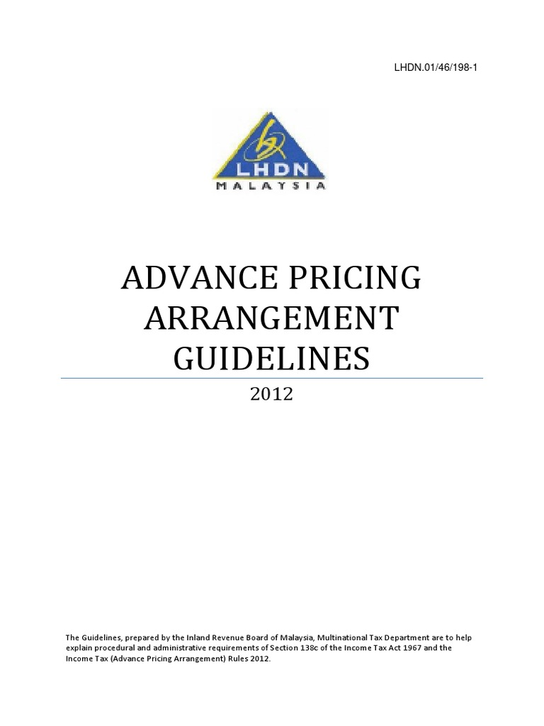 Malaysia Advance Pricing Arrangement Guidelines Lhdn Double