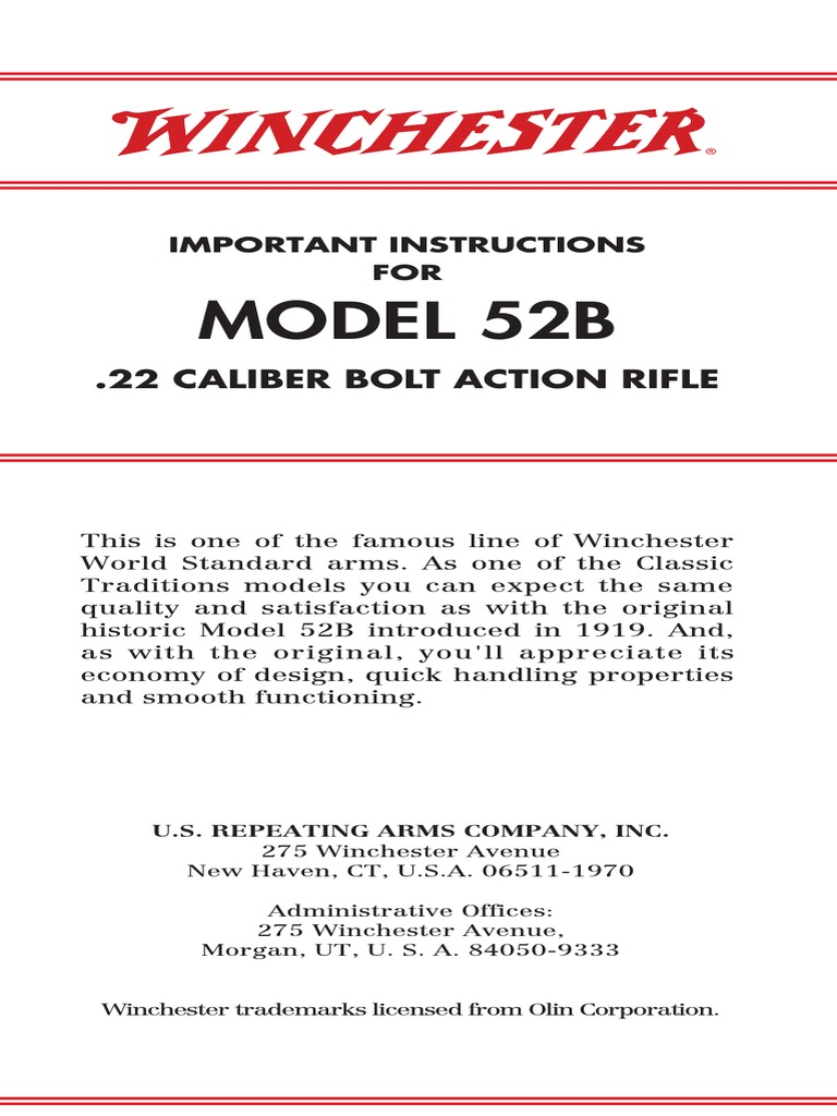 Winchester Model 52b 22 Caliber Bolt Action Rifle   Magazine