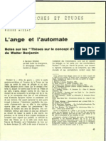 """Pierre Missac - L'ange et l'automate. Notes sur les """"Thèses sur le concept d'histoire"""" de Walter Benjamin"""