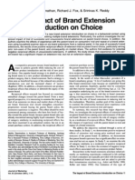 The Impact of Brand Extension Introduction on Choice