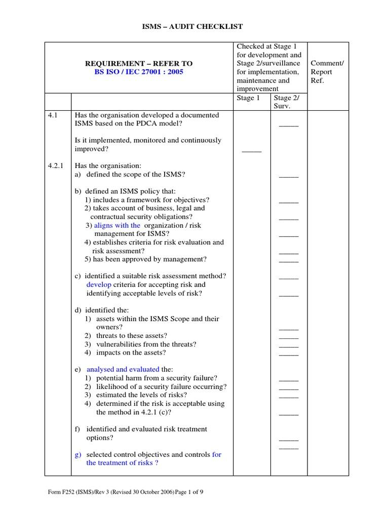 isms audit check list audit risk assessment