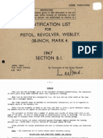 Webley 1947 Identification List for Pistol Revolver Webley 38 Inch Mark 4