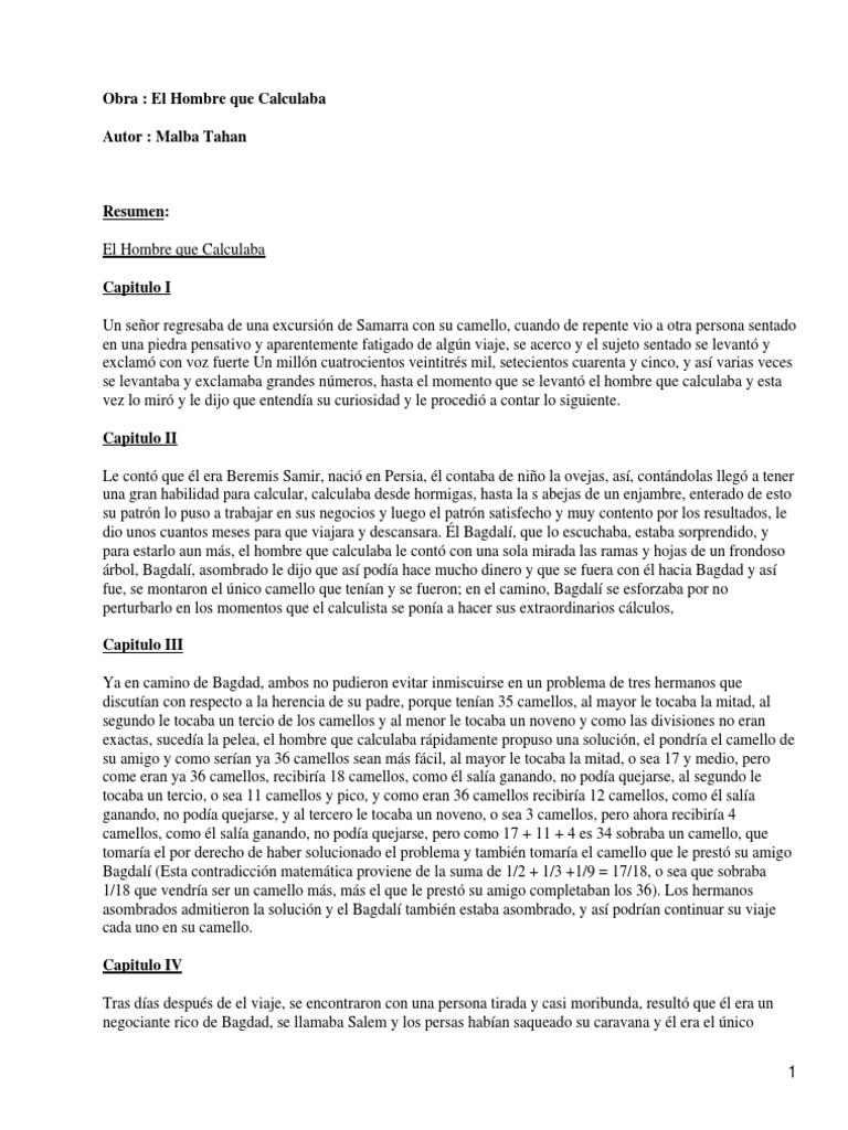 el hombre que calculaba resumen por capitulos pdf