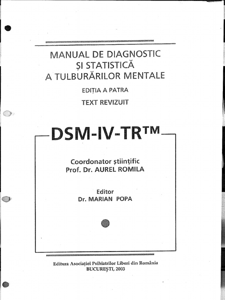 diagnostic and statistical manual of mental disorders dsm iv tr
