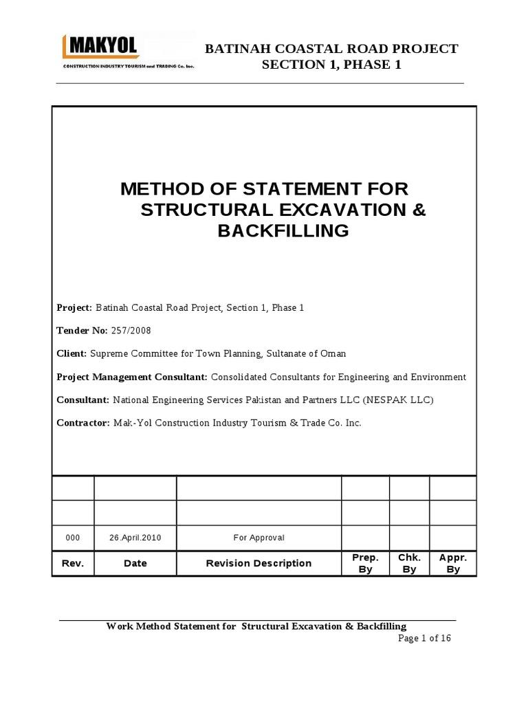 Method Statement Structural Excavation Backfilling Excavation