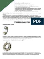 CLASIFICACIÓN O TIPOS DE RODAMIENTOS