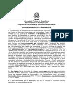 Edital Mestrado Selecao 2014 Ufmg