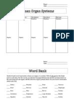Worksheet_Organ Systems Intro