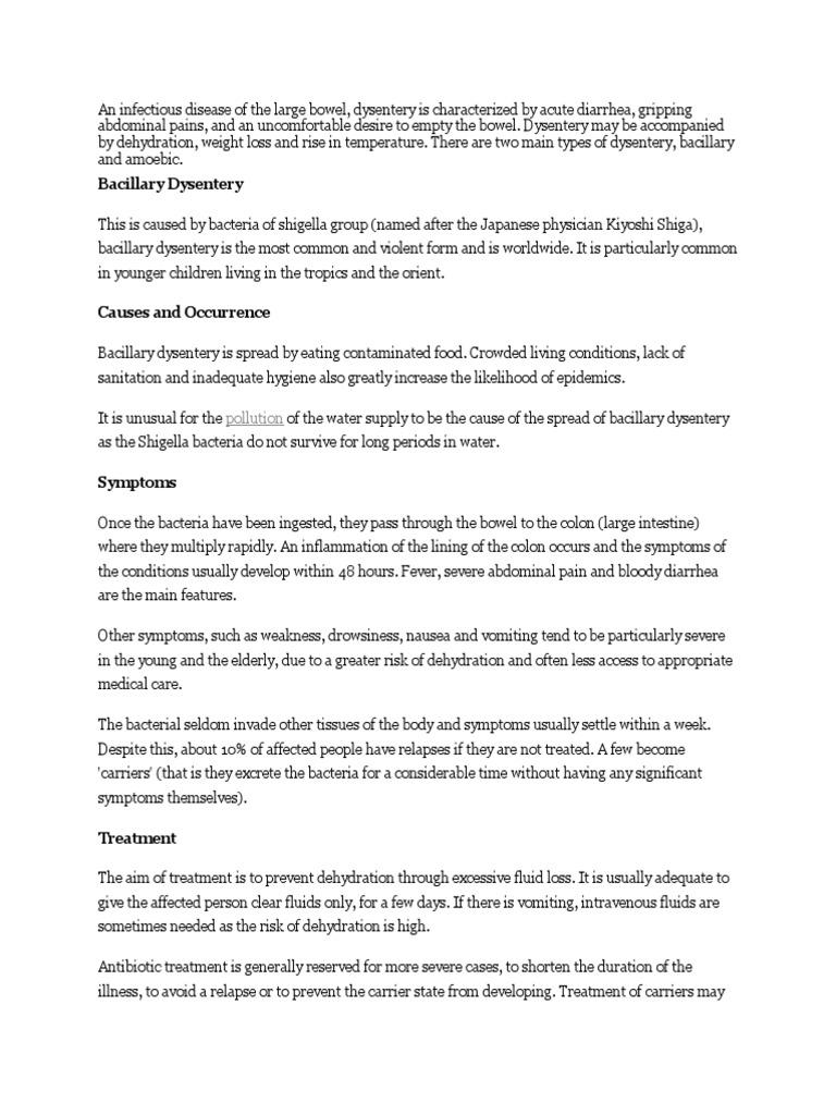 Bacillary Dyssentery | Diarrhea | Salud pública