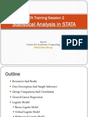 STATA Training Session 2 | Logistic Regression | Regression