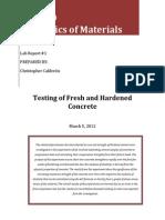 CVE 230. Lab Report 1 (Fresh and Hardened Concrete).