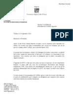 Lettre de Robert Alfonsi à Michel Vauzelle