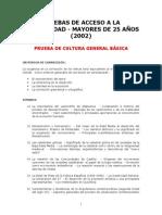 Temario Acceso Universidad Mayores 25 años (2002) - PRUEBA CULTURA GENERAL BASICA