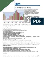 Gobierno le pegó al PIB creció 4.2%