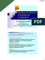 Ejemplos de objetivos e hipotesis de investigación