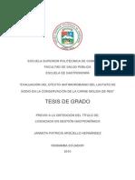 Evaluacion Del Efecto Microbiano Del Lactato de Sodio en La Conservacion de La Carne Molida de Res -TESIS de GRADO