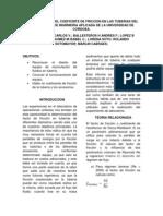Determinacion Del Coeficinte de Friccion en Las Tuberias Del Laboratorio de Ingrnieria Aplicada de La Universidad de Cordoba