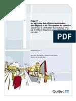 Vérification du processus d'attribution de contrats à la Ville de Saguenay